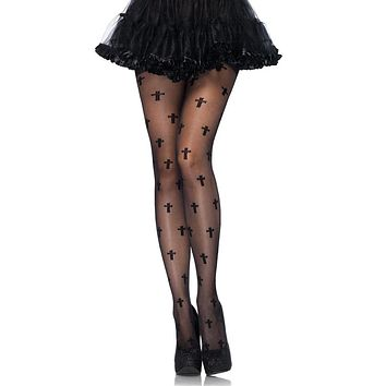 Praying For You Black Sheer Cross Geometric Pattern Tights Stockings Hosiery