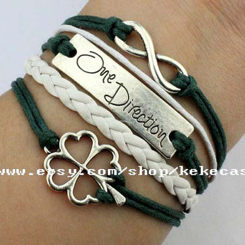 Infinity wish bracelet,Lucky flower bracelet,One direction bracelet,rope and white leather braid,Friendship Gift.-T083