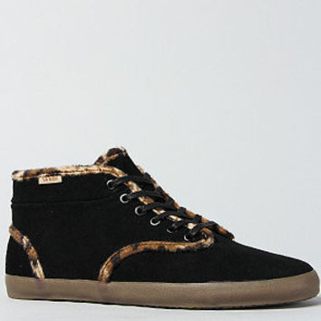 The Houston Sneaker in Black Suede and Leopard Fleece