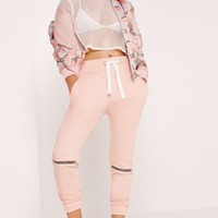 Missguided - Zip Knee Detail Joggers Nude