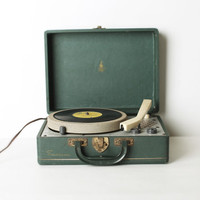Vintage Green Suitcase Record Player