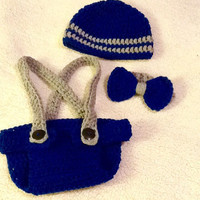 Newborn boy 3 piece set with suspenders and bow ties - made to order - crochet