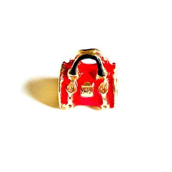 Red Bag  European Bead Charm 18kt of Gold Plated