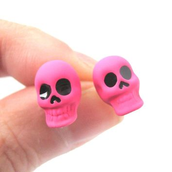 Unisex Skull Shaped Skeleton Themed Rocker Chic Stud Earrings in Neon Pink