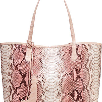 Nancy Gonzalez - Crocodile-trimmed python tote