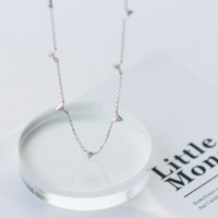 925 sterling silver littler triangle necklace D2751 -0414 -Gifts box