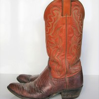 Cowboy Boots JUSTIN Lizard & Stitched Leather Cowboy Boots 8D