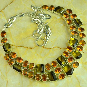 Ametrine Quartz & Honey Quartz Designer 925 Silver Necklace 101 Grams