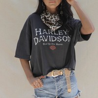 VINTAGE Harley Davidson Bad To The Bone Crop T-Shirt