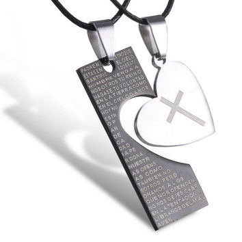Fashion Valentine couples necklace set Stainless Steel Heart Pendants Black Cord of Leather Necklaces For Women Men Jewelry