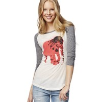 Sheer 3/4 Sleeve Elephant Graphic T