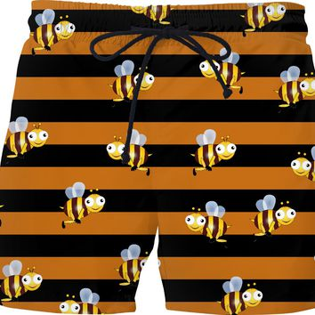 Bee stripes and bees pattern swim shorts, thick stripes themed short pants