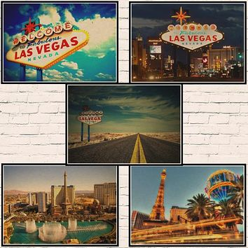 Las Vegas Vintage Travel Poster Classic Retro Kraft Decorative Maps Wall Sticker Home Bar Posters DIY Decor Gift