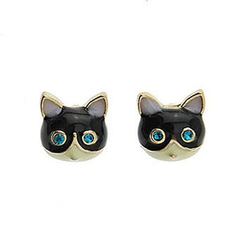 Basket Hill. Cat / Kitty Face with Blue Eyes Girls Post Earrings