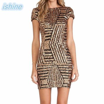 8a414736e9ab 2018 New Sexy V-neck Backless Gold Silver Sequin Short-Sleeve Bo