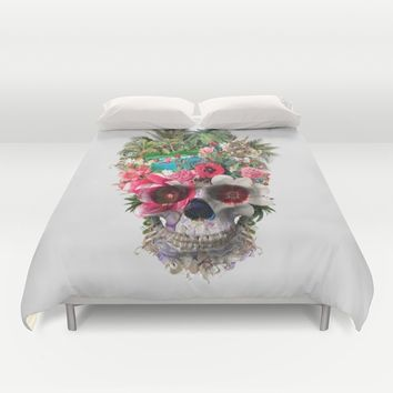 Summer Skull IV Duvet Cover by RIZA PEKER
