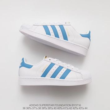 Adidas  Superstar Foundation White Light Blue Gold BY3716   Running Sneaker