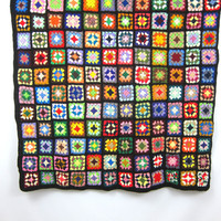 vintage afghan blanket throw granny squares black pink yellow and green colors Retro grandma home decor MOD Hipster Apartment blanket