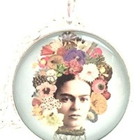 Mod Provisions Flora and Frida Collage Emily Ames Zadoretzky Glass Cabochon Pendant Necklace