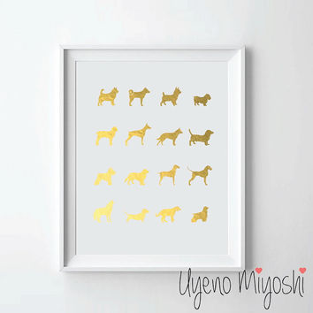 Dog Breeds II Gold Foil Print, Gold Print, Custom Print in Gold, Illustration Art Print, Dogs Gold Foil Art Print