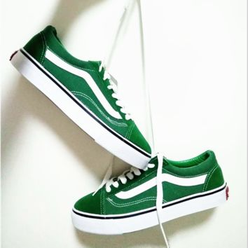 """""""Vans"""" With Warm Casual Shoes Men and women classic black cloth shoes Green"""