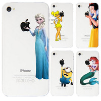 Grind Arenaceous Cases For Apple iphone 4S 4  Shell Snow White Anna Mermaid Ariel Cinderella Girl