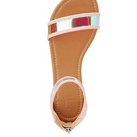 Holographic Two-Piece Flat Sandals