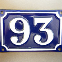 French Door Number 93 Blue enamel street sign, from 1 to 216, french antique sign, parisian atmosphere