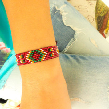 Boho bracelet, abstract brazilian bracelet, miyuki beaded bracelet, bohemian jewelry, purple hippie accessories, abstract aztec bracelet,
