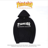 Fall and winter new wave brand THRASHER flame sweater hat hooded couple lovers long-sleeved jacket Black