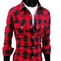 "Zehui Mens Stylish Plaid Style Cotton Leisure Casual Shirt Red Large Plaid US:M(Shoulder:17.3"" Chest:39.3"" Length:28.7"" Sleeve:24.8"")"