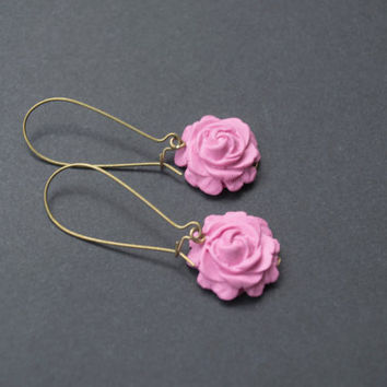 Polymer Clay Rose Earrings. Fuchsia Flower Earrings. Long, Dangle, Antique Brass. Pink Jewelry. Flower Jewelry