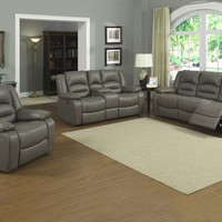 2 pc Axel collection gray bonded leather upholstered standard motion Sofa and Love seat set with recliner ends