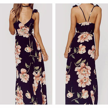 Fashion Floral Print Dress Women Backless Split Maxi Dress Deep V-neck Sexy Party Dress Casual Bohemian Dresses -03d28