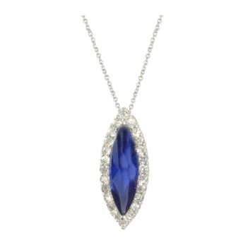 Marquise Tanzanite CZ Halo Pendant Necklace in Rhodium