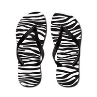 Animal Print Fur Skin Zebra Black White Flip Flops> Animal Print Zebra Black Blue Pink Green> Strawberry and Hearts