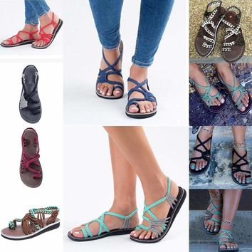 Summer Women Sandals Boho Flat Flip Flops Weave Bandage Flats Casual Beach Shoes