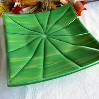Fused Glass Art Plate in Green and Yellow by bprdesigns on Etsy