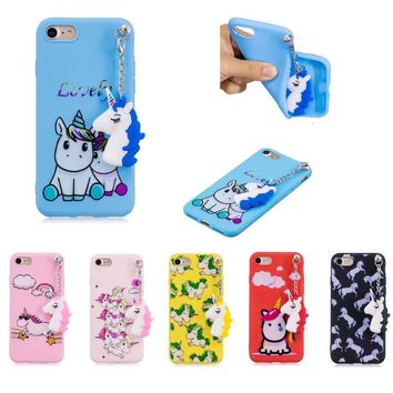 Soft Silicone phone Case for Iphone X 5 5s se 6 6s 7 8 Plus Lovely Horse Unicorn Painted Back Cover Coque With Pendant