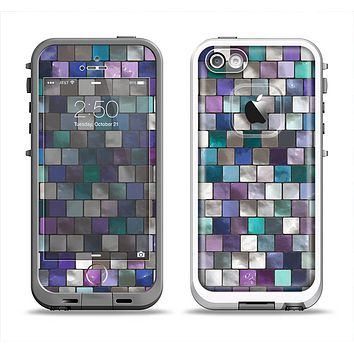 The Mosaic Purple and Green Vivid Tiles V4 Apple iPhone 5-5s LifeProof Fre Case Skin Set