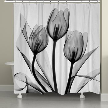Monochromatic Black Tulips Shower Curtain