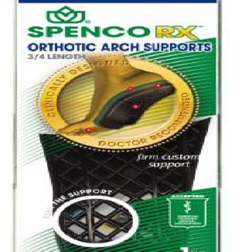 Spenco Rx® Orthotic Arch Support Size 3, 3/4 Length, 1/4 Inch Heel 9 - 10 Female, 8 - 9 Male With Flexible plastic - EA/1