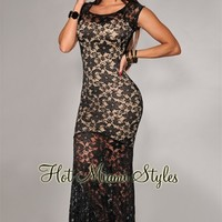 Black Lace Nude Illusion Lace Gown