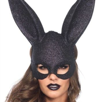DCCKLP2 Glitter masquerade rabbit mask ( 6 pieces per box ) in BLACK