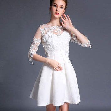 Lace Embroiders Cutout Half Sleeve A-Line Mini Skater Dress