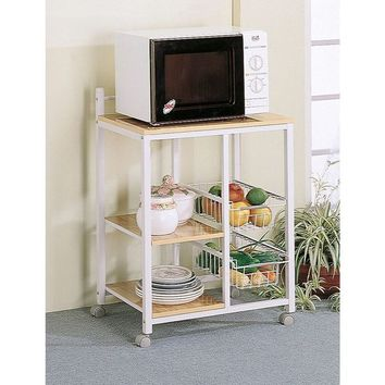 White/ Natural Wood 2-Shelf Kitchen Cart | Overstock.com Shopping - The Best Deals on Kitchen Islands