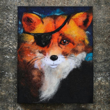 Wool Painting, Needle Felted Art, Felt Painting, Fox Art, Fox Painting, Steampunk Animals, Steampunk Art, Whimsical Art, Fiber Art, Textile