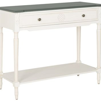 Jenel White Console Table With Storage Drawer Antique White And Dark Brown Top