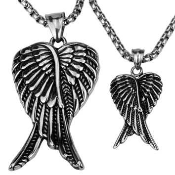 Couple necklace stainless steel angel wings pendants W/ chain valentines day gifts for him her lovers jewelry GN03