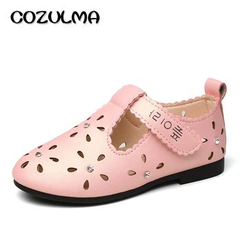 COZULMA Spring Summer Girls Sandals Kids Shoes Children's Sandals For Girls Princess Cut-outs Rhinestone PU Leather Girls